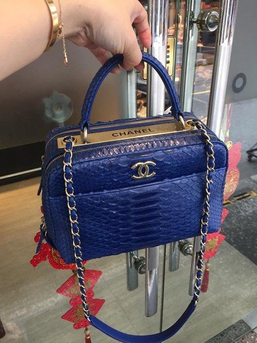 典精品 Chanel 真品 A92725 蟒蛇皮 Bowling  保齡球 金鏈 手提 肩背包 專櫃約30萬 現貨