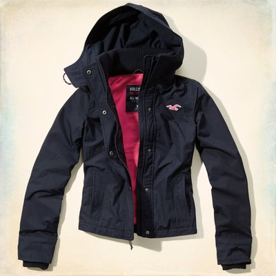 Hollister All-Weather Jacket Navy Color (XS) 女生 全天候 防風外套