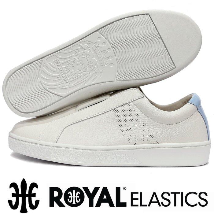 鞋大王ROYAL 91791-005 白×水藍 皮質無鞋帶休閒運動鞋【免運費,加贈鞋油和襪子】804R