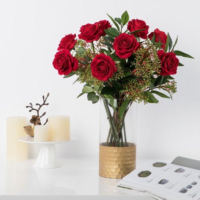 〖洋碼頭〗歐式復古浪漫仿真玫瑰花套裝 餐桌客廳花藝插花假花 飾品 shx515