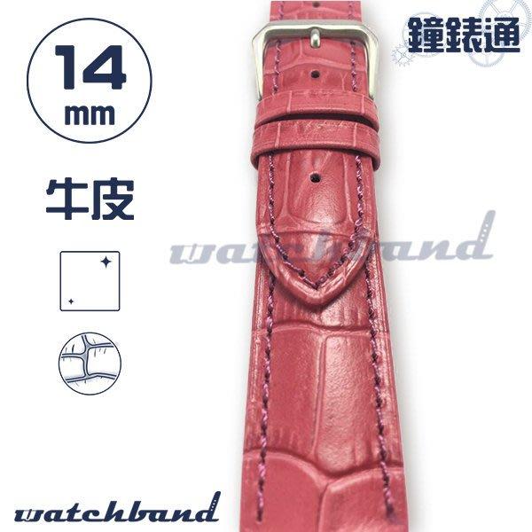 【鐘錶通】C1-33AR《簡約系列》大花鱷魚紋-14mm 玫瑰紅  /手錶錶帶/大花鱷魚紋/牛皮錶帶/