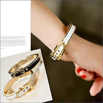 ☆雙兒網☆ 綺麗時分 【O958】韓時尚個性MURUA金屬皮帶式手鐲手環