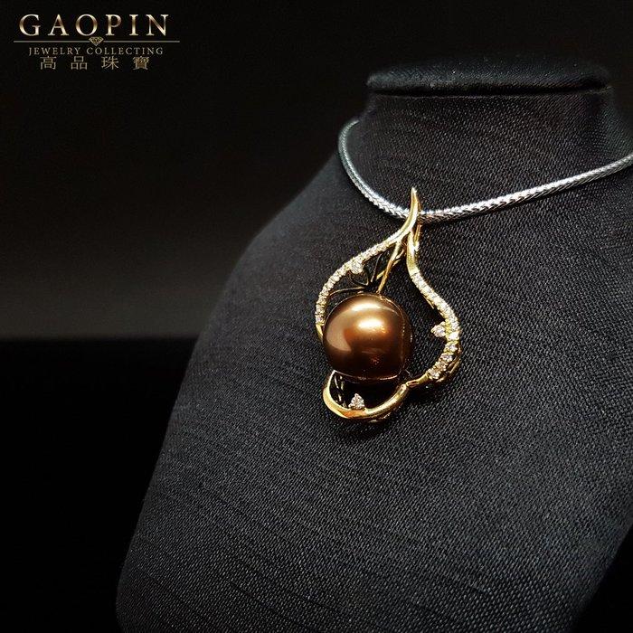 【高品珠寶】11mm天然南洋珠項鍊  母親節禮物 18K #3344