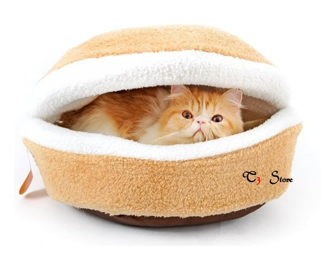 【T3】小銅鑼燒貓窩🐱 高品質厚實羊羔絨 漢堡貓床 可拆 狗窩 狗床 漢堡 貓窩 銅鑼燒 喵星人寵物窩【HH15】