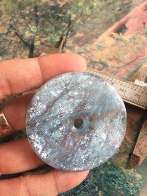 (古藝老歷史)天然巴西海藍寶海水藍寶七彩暈光效果平安扣如圖照實體拍照現貨供應出貨