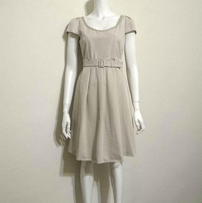 Jill Stuart正品 日本製 淺灰卡其色短袖洋裝 附腰帶 2號(M) 專櫃