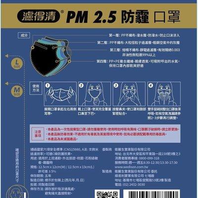 最後5包出清 每包4枚裝 台灣製造【立得清】濾得清 抗PM2.5防霧霾懸浮微粒 4層結構立體口罩 通過國家標準有效過濾99%懸浮微粒 非日本三次元 超快適 3M
