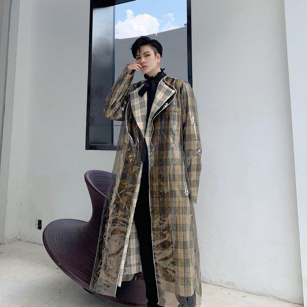 FINDSENSE 2019 秋冬上新 G19  時尚復古格子風衣外套男裝百搭寬鬆休閒外套