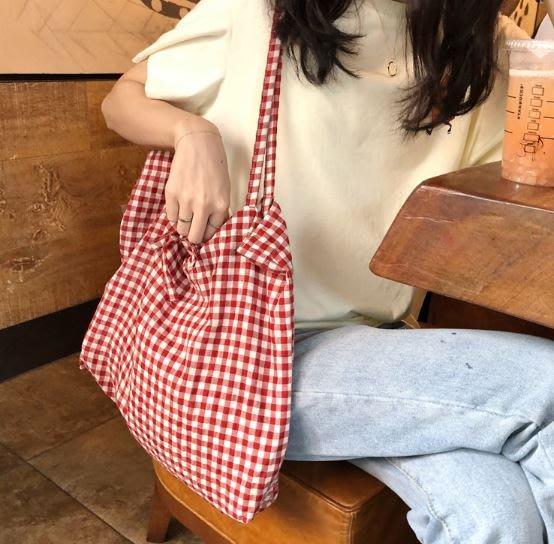 【現貨】文青必備 棉麻 帆布 格紋 格子 肩背包 手提包  黑色 紅色