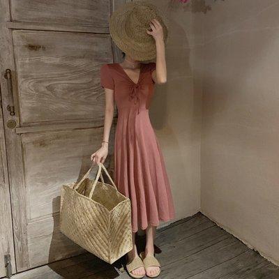 時尚女裙  夏季新款抽繩系帶V領修身中長款過膝高腰復古短袖A字連衣裙女