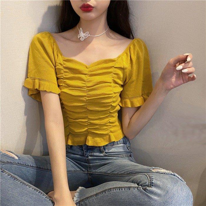 短袖針織衫 冰絲 韓版復古短款上衣露鎖骨小心機修身顯瘦短袖 針織衫 女