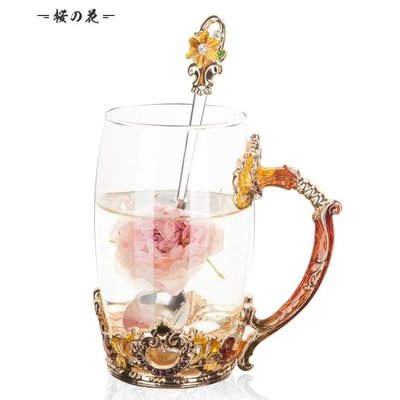 琺瑯彩歐式耐熱玻璃杯子家用水杯女情侶茶...