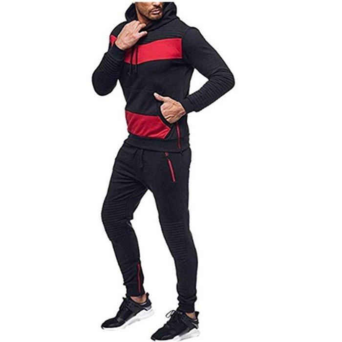 『潮范』  N4 男式休閑運動套裝 爆款外貿衛衣套裝 修身嘻哈拼接連帽衫 休閒長褲