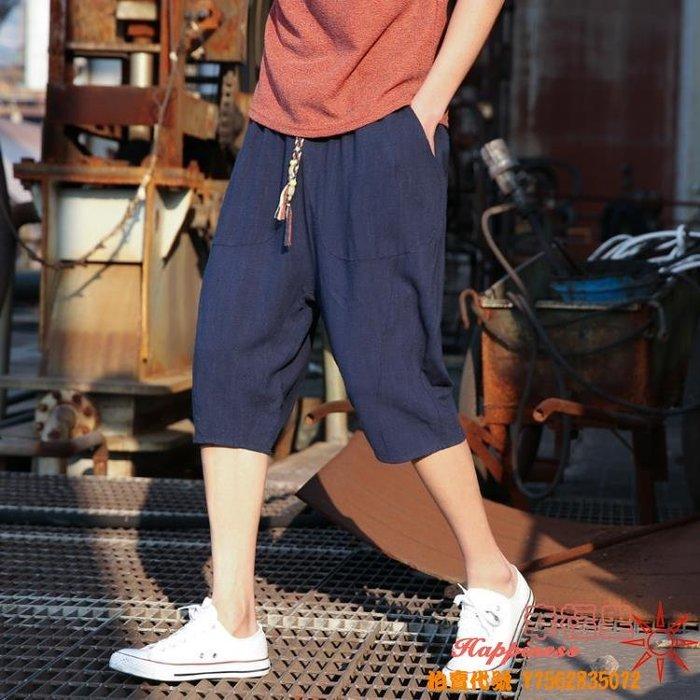 夏季新款亞麻七分褲男士韓版潮流休閒短褲夏天寬鬆褲子7分褲  全館免運