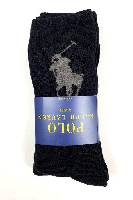 ☆ 瘋加州 ☆ Polo Ralph Lauren 黑色 大馬 中筒/長筒襪子 (3雙一組) 5937