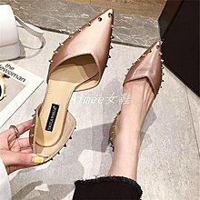 Empress丶2019春季新品正韓優雅氣質OL尖頭鉚釘淺口中空單鞋舒適低跟女鞋子