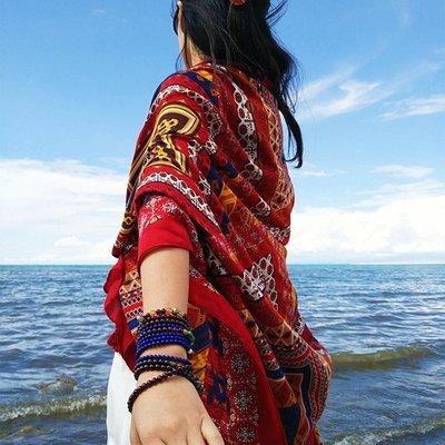 絲巾女圍巾棉麻防曬披肩女夏季沙灘巾超大海邊兩用海灘薄紗巾百搭