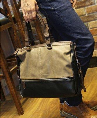 FINDSENSE Z1 韓國 時尚 潮 男 軟皮質 拼色 手提包 單肩包 斜背包 側背包 旅行袋