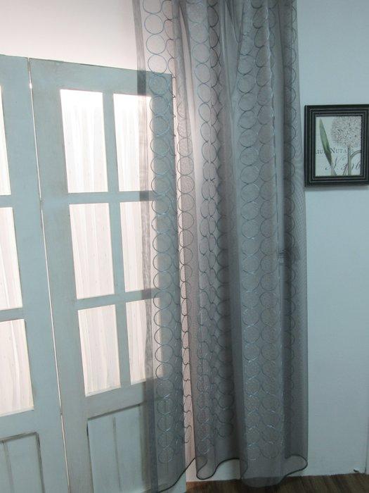[W084]窗簾 窗紗  No.482立體緞圈灰紗  特價出清  無接縫紗 典雅 復古 時尚 幾何