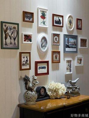好物多商城 美式復古實木相片背景墻歐式鐘表掛墻相框組合創意照片墻裝飾客廳