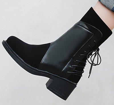 AS0150 40-43碼 韓系 拼接 繫帶 女靴 短靴 馬靴 靴子 短筒 踝靴 大碼 女鞋 大尺碼女鞋