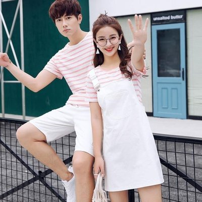 哆啦本鋪 情侶裝夏裝2019新款韓版短袖T恤夏季連衣裙女學生套裝 D655