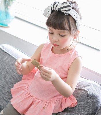 【Mr. Soar】 G414 夏季新款 韓國style童裝女童荷葉邊衣襬無袖上衣 現貨