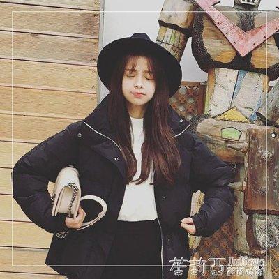 韓版潮帽子女黑色寬檐禮帽毛呢帽韓版休閒男女帽英倫爵士帽子