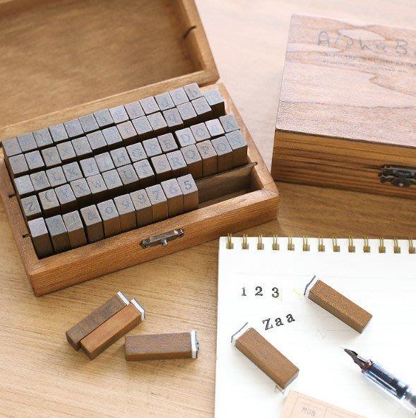 英文字母印章復古手寫手賬日記裝飾基礎印章 70枚木盒裝_☆找好物FINDGOODS☆