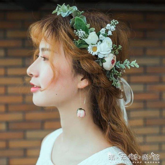 森系清新綠野仙蹤新娘花環伴娘花童頭飾婚紗攝影影樓髮飾婚禮飾品
