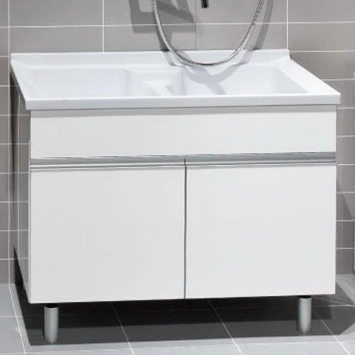 《101衛浴精品》台灣製造 100%全防水 一體成型 人造石 洗衣槽浴櫃組 90CM 雙槽【免運】