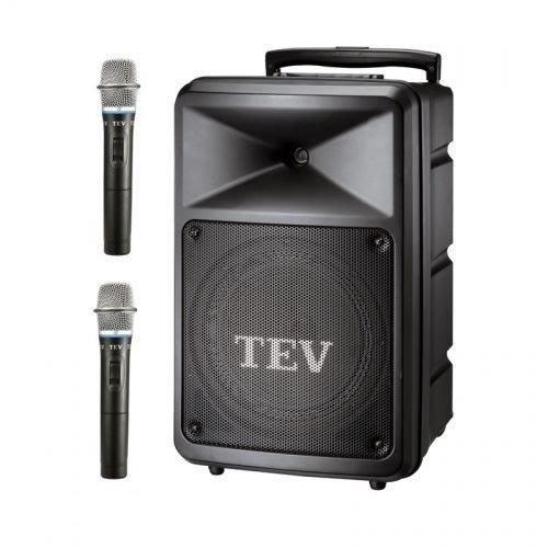 【昌明視聽】TEV TA-680 8吋 行動擴音喇叭 附2支選頻式無線麥克風 內建CD 藍芽 USB 播放器 可攜式