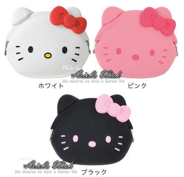 Ariel's Wish-日本Hello Kitty白粉黑色mimi POCHI蝴蝶結凱蒂貓膠材質防水零錢包收納包耳扣化妝包