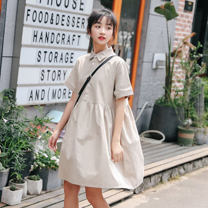 SEYES 日韓系雜誌款基本款短袖洋裝(附領帶)