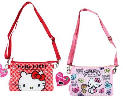 【卡漫迷】 Hello Kitty 收納袋 可觸控 二款選一 ㊣版 緞面 拉鍊 肩背 萬用包 智慧型手機 化妝包 側背包