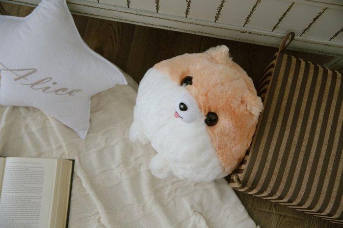 柯基犬 球球造型 抱枕毛绒玩偶,可愛,短腿,圓滾滾,長毛,雙色小 萌萌的 可愛 古錐短腿