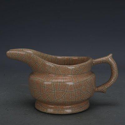 ㊣姥姥的寶藏㊣ 宋代哥窯手工瓷金絲鐵線公道杯   出土古瓷器古玩古董收藏擺件