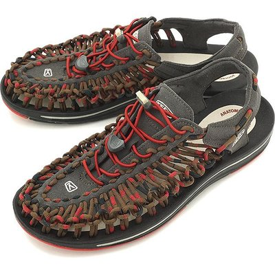 =CodE= KEEN UNEEK SLICE FADE SANDALS編織彈性綁繩涼鞋(灰咖啡)1014620 拖鞋男