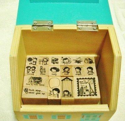 生活點滴 木頭印章(17枚入房子木盒裝)