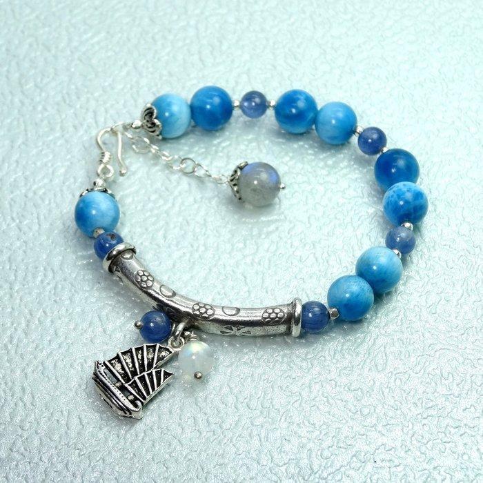 【善觀手作精品】手鍊 藍 磷灰石 藍晶石 月光石 拉長石 925銀飾 銀管 帆船 寶石 設計 手珠  飾品 首飾
