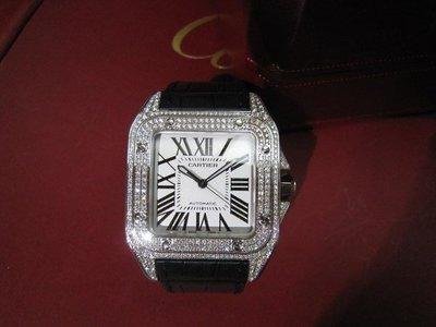 【愛錶回春中心】Cartier原廠 Santos 100  ( 專業代鑲優質美鑽).請自備錶~ 錶徑 51X42 mm
