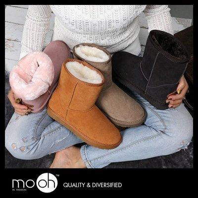 牛皮中筒基本款素面雪靴 mo.oh (歐美鞋款)