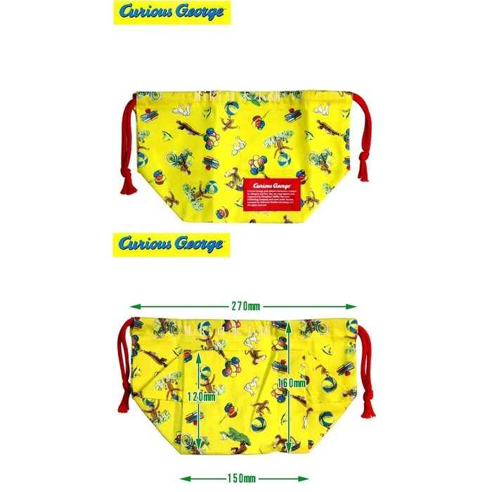 *Miki日本小舖*日本Curious George 喬治猴 便當盒束袋 手提束袋 日本製