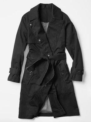 【天普小棧】GAP  Bonded Trench coat 軍裝大衣長外套 風衣 黑色S號 現貨抵台