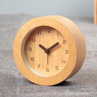 ZIHOPE 木質鬧鐘靜音創意床頭學生時尚簡約迷你鬧鐘臥室可愛鐘錶座鐘臺鐘 ONE SHOEZI812