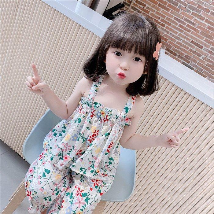 免運 女童夏裝套裝  時髦 中小童洋氣女寶寶防蚊褲吊帶兩件套