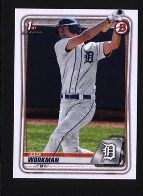 2020 Bowman Draft #BD-33 Gage Workman - Detroit Tigers