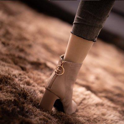 高跟靴子磨砂皮方頭拉鏈粗跟短靴女新款秋冬新季加絨韓版馬丁靴小新惠鴨!ak