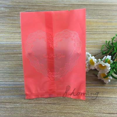 【homing】(9X 11.5 cm)薔薇紅色愛心古典蕾絲烘焙西點甜點餅乾包裝袋/機封袋/熱封袋/雪Q餅/牛軋餅