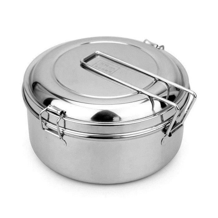 便當盒蒸飯盒304不銹鋼飯盒圓形雙層食堂飯缸成人鐵飯盒便當盒學生帶蓋店長推薦全館免運
